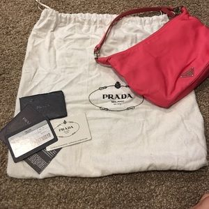 Prada pink bag with dust cover and Prada Certifica