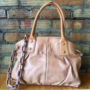 J. Crew camel tan leather Chain link Handbag