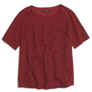 Madewell silk burgandy top with embroidery