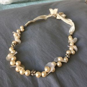 J.Crew intricate pearl necklace with silk tie