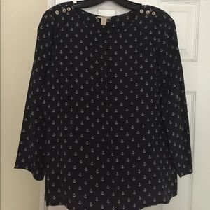 J.Crew silk anchor blouse with button detail