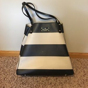 Kate Spade Black and Off White Striped Tote