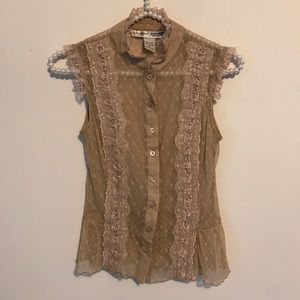 Maurices Nude & Pale Pink Lace Button Up Top Sz XS