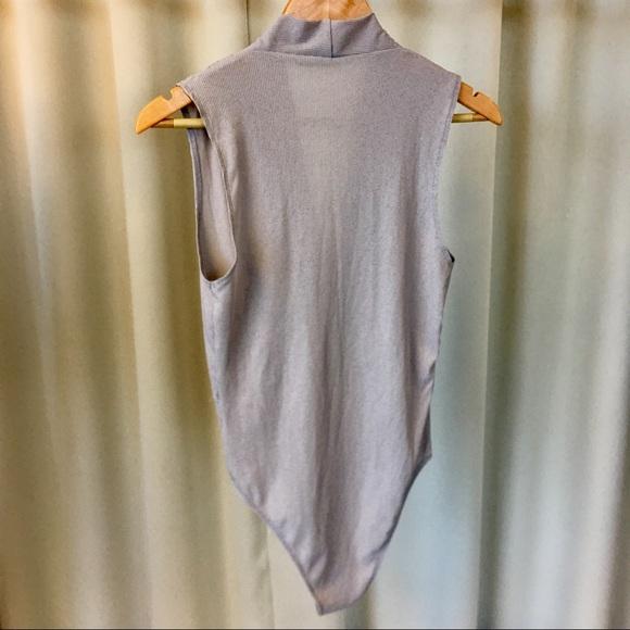 Ark & Co Tops - Gray Ribbed Surplice Bodysuit