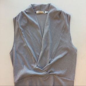 Gray Ribbed Surplice Bodysuit