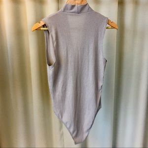 Ark & Co Tops - Gray Ribbed Surplice Bodysuit