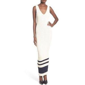 JAMES PERSE Stretch Knit Ribbed V-Neck Maxi Dress
