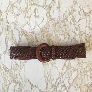 Madewell Woven Brown Leather Wide Belt XS