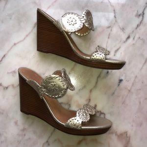 Jack Rogers gold wedge sandals sz 6