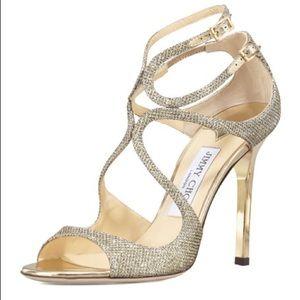 Jimmy Choo Light Bronze Lame Glitter Sandals