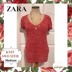 Zara red knit short sleeve sweater sz med