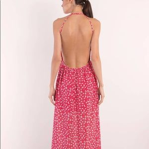 Floral backless maxi dress with side split