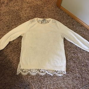 The Limited Cream Quarter Sleeve Lace Back Sweater
