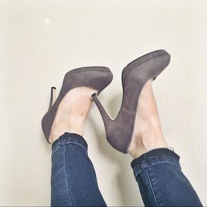 H&M Suede gray/grey heels