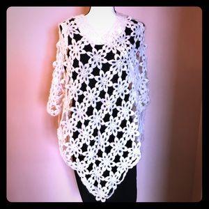 Jackets & Blazers - Vintage Open Crochet Floral Poncho