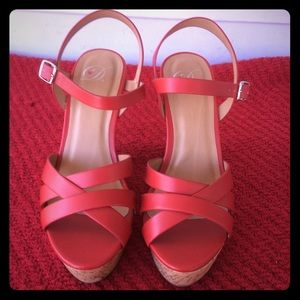 Red Sandal Wedges