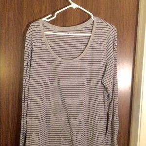 🌺SALE🌺  Long sleeve grey tee with navy stripes