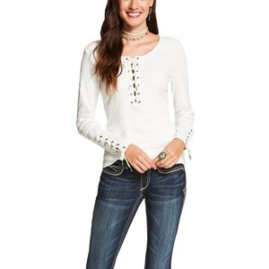 NWT // Ariat White Murphy Lace Up Top