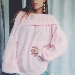 Kiana Pink Off the Shoulder Sweater