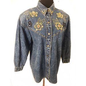Vintage acid washed Denim top / jacket