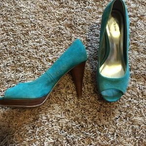 Style & Co Shoes - Teal Peep Toe Heels