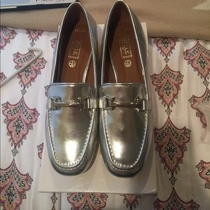Asos silver loafers