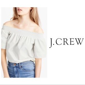 J. Crew Tops - J.Crew Off the Shoulder White Cotton Top