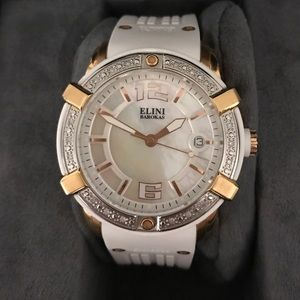 Elini Barokas White and Rose watch w/ crystals