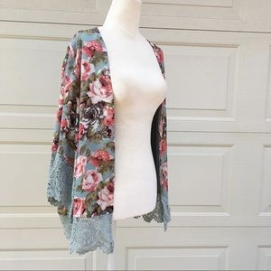 Esley Floral Kimono Shrug with Lace Detail