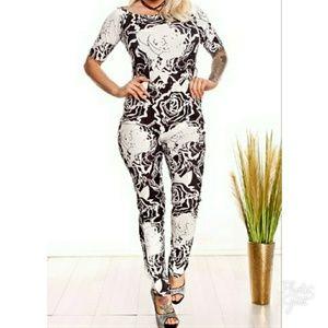 Pants - Host Pic Floral Print jumpsuit   SMALL