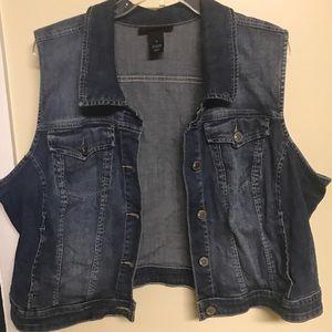 Short blue jean vest