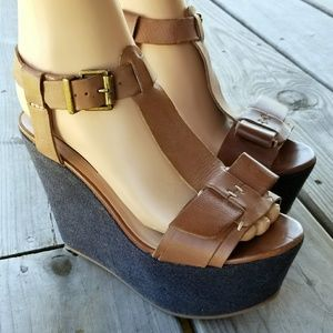 7 For All Mankind Kalistoga Wedges Sandals, 7