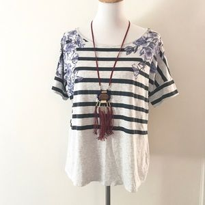 Striped Floral Dolman Sleeve Tee by Pilcro