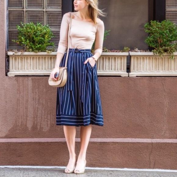 b28827fcc7 Banana Republic Dresses & Skirts - Banana Republic navy striped midi skirt  ...
