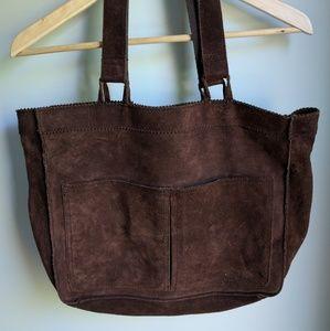 Suede briefcase schoolbag