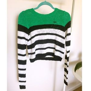 Gilly Hicks Green stripe Cropped Knit Sweater