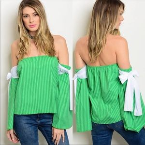 Tops - NWT JUST IN! CUTE UNIQUE Off Shoulder Top W/ Bows