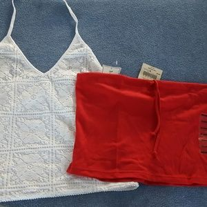 White Lace Halter Red Crop Top Summer Lot XL