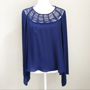 Rory Beca Blue Sheer Braided Top