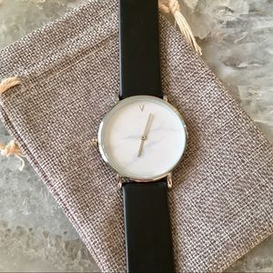 Minimalist Silver Marble Leather Luxury Watch