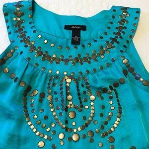 Alfani Turquoise dress w/bronze studs