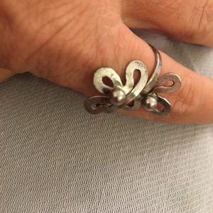 Wrap around pewter adjustable ring vintage