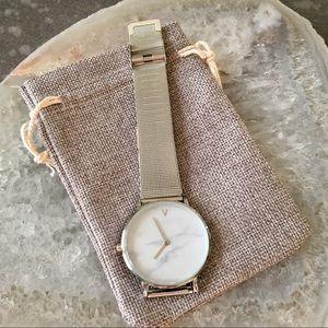 Minimalist Marble Silver Luxury Watch
