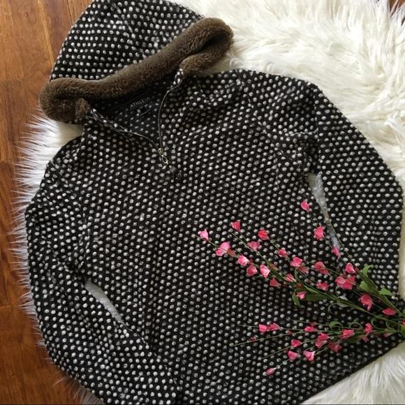 ea07b077ffb37 Athleta Jackets & Coats   Polka Dot 14 Zip Fuzzy Pullover Jacket ...