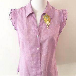 Purple Swiss Dot Ruffle Sleeve Lilly P Blouse