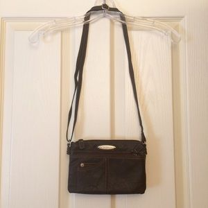 Deep brown Rosetti multi-pocket cross-body purse