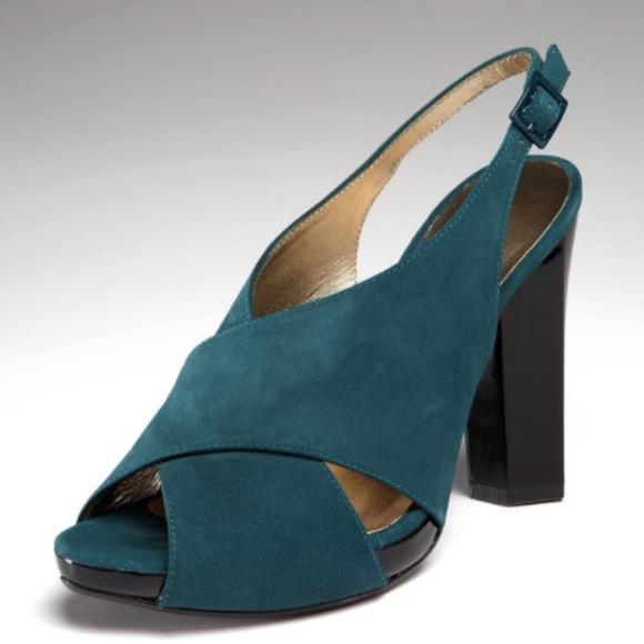 07731f3ee2 Diane Von Furstenberg Shoes | New Marlene Slingback Teal Suede Size ...