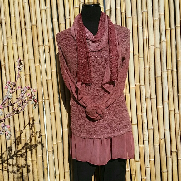 Real Haute Trends Sweaters - Italian Boutique Pink Rose Color Skirted Sweater!