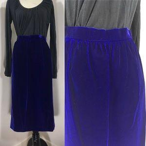 Vintage 80s Blue Velvet High Waisted Skirt 1980s