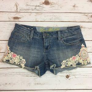 Floral Crochet Denim Shorts 🌺